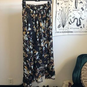 Free People Sheer Floral Maxi Skirt